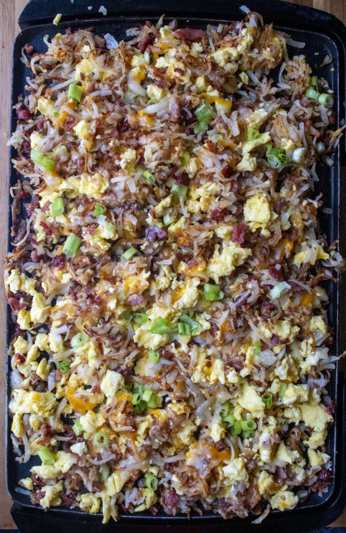 breakfast scramble on a griddle