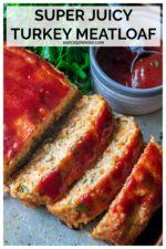 Turkey Meatloaf is easy to make, tender and juicy and the BEST healthy meatloaf recipe. Made with lean ground turkey and topped with a homemade glaze, this moist turkey meatloaf recipe is delicious and a family favorite every time! #turkeymeatloaf #bestturkeymeatloafrecipe #turkeymeatloafrecipe #turkeymeatloafrecipebest #moistturkeymeatloaf #groundturkeymeatloaf #groundturkeymeatloafhealthy