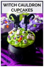 Witch Cauldron Halloween Cupcakes are moist dark chocolate cupcakes, fluffy buttercream frosting and ghoulish sprinkles all served up in a cute witch cauldron. Easy, cute and ghoulishly delicious makes these the perfect Halloween cupcakes. #halloweencupcakes #witchcupcakes #witchescauldroncupcakes #halloweencauldroncupcakes #witchcupcakeshalloween #halloweencupcakesforkids #halloweencupcakeideascute