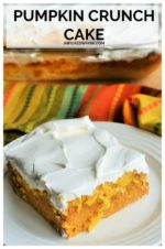 Pumpkin Crunch Cake is the perfect pumpkin fall dessert! Spiced with your favorite fall flavors, this pumpkin pie inspired treat layered with a crumbly cake mix crunch and whipped topping makes this the ultimate easy pumpkin dessert. #pumpkincrunchcake #pumpkincrunchcakerecipe #easypumpkincrunchcake #pumpkincrunchcakerecipefalldesserts #bestpumpkincrunchcake #easypumpkindessert #sheetpanpumpkindessert