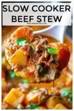 Easy Slow Cooker Beef Stew is made with tender chunks of stew meat, tons of vegetables and a tasty, rich broth making this easy beef stew recipe the perfect slow cooker comfort food. #slowcookerbeefstew #slowcookerbeefsteweasy #slowcookerbeefstewbest #slowcookerbeestewrecipeseasy #crockpotbeefstew #bestcrockpotbeefstew #crockpotbeefstewslowcooker