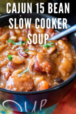 Hot and hearty with a kick of spice, this Cajun 15 Bean Soup is the perfect homemade bean soup recipe to keep the chill away. Easy to make, simply add beans, ham, sausage and fresh vegetables to your crock pot and let it do the work for you. #cajun15beansoup #cajun15beansoupslowcooker #cajun15beansoupcrockpot #15beansoup #15beansoupwithham #hamandbeansoup