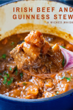 Irish Beef and Guinness Stew is the ultimate comfort food! Simmered all day, this easy beef stew recipe delivers fall-apart tender beef, perfectly cooked vegetables and thanks to Guinness Beer, a rich and hearty flavor that melts in your mouth. #irishbeefstew #guinnessstew #guinnessbeefstew #beefstew #irishbeefandguinnessstew