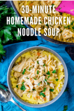 This classic chicken noodle soup recipe is hearty, creamy and ready in just 30 minutes! Made with rotisserie chicken, chicken stock and fresh vegetables, making easy homemade chicken noodle soup from scratch has never been so easy. #chickennoodlesoup #chickenoodlesouphomemade #homemadechickennoodlesoup #chickensoup #creamychickennoodlesoup #30minutechickennoodlesoup