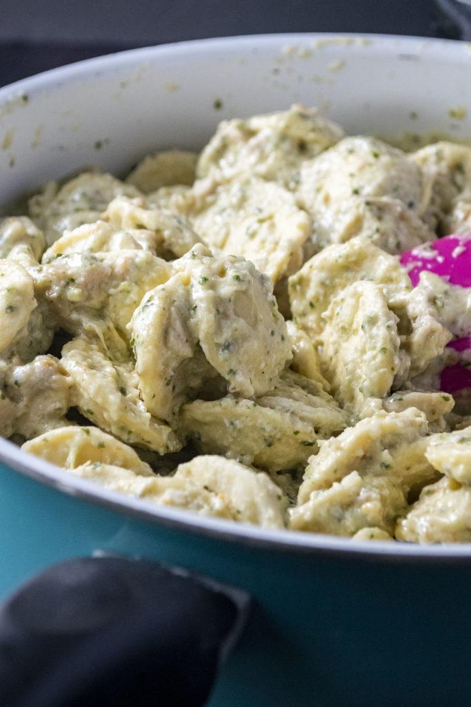 frozen ravioli in pesto sauce