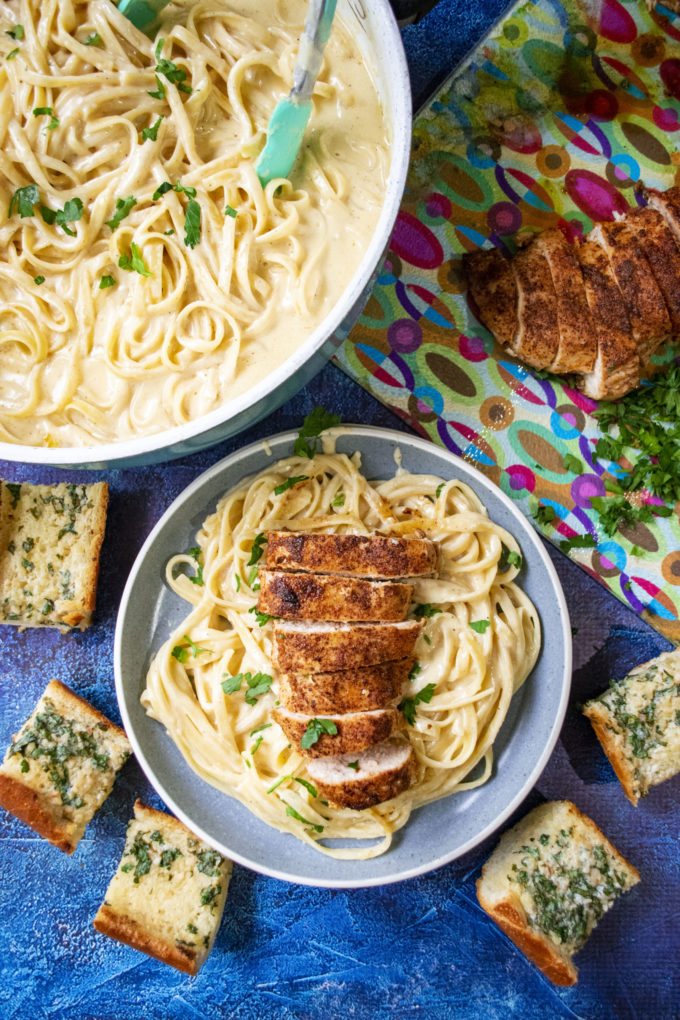 cajun chicken alfredo on a plate