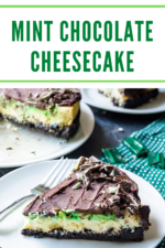This Mint Chocolate Cheesecake is the perfect green swirl cheesecake for any mint lover! Peppermint cheesecake with a mint Oreo crust, a creamy decadent filling and a melted Andes mint chocolate topping makes this the ultimate mint chocolate cheesecake. #mintchocolatecheesecake #mintcheesecake #mintchocolatecheesecakerecipe #andesmintchocolatecheesecake